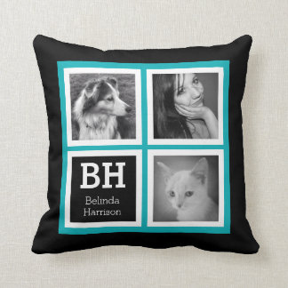 Double Sided Bright Blue Black Instagram Photos Throw Pillow