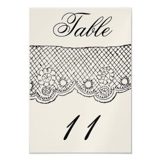 Double Sided-Champagne Lace Table Number 9 Cm X 13 Cm Invitation Card