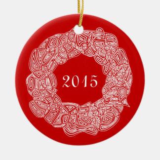 Double Sided Commemorative Wreath (Joy/Year) Round Ceramic Decoration