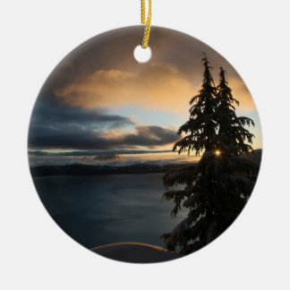 Double-Sided Crater Lake in Winter Ornament