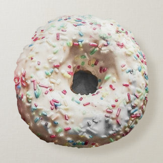 Double-Sided Donut: Rainbow Sprinkles & Pink Icing Round Cushion