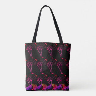 """Double Sided """"Electric Flamingos"""" Tote Bag"""