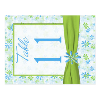Double-sided Lime, Blue, White Table Number Postcard
