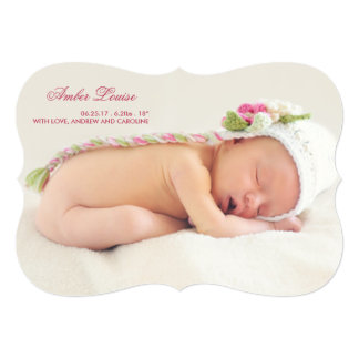 Double Sided Photo Birth Announcement for Girl