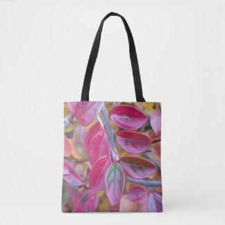 Double sided psychedelic pink leaves tote bag