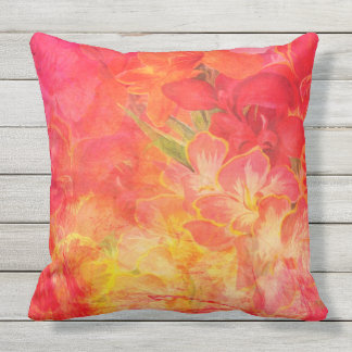 DOUBLE SIDED RED FLORAL SPRAY throw cushion
