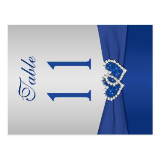 Double-sided Royal Blue and Silver Table Number Postcard