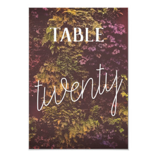 Double Sided Ruby Plants Table Number- 20 Card