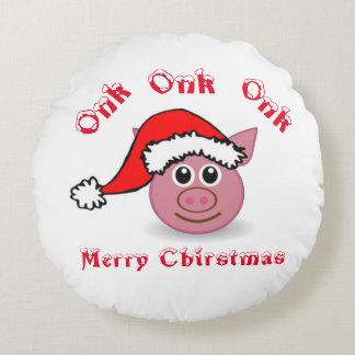 Double Sided Santa Piggy Round Cushion