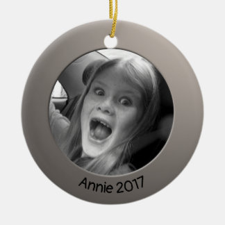 Double Sided Silver 2 x Custom Photo and Text Ceramic Ornament