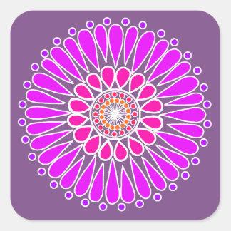 Double Sunflower Mandala Purple Square Sticker