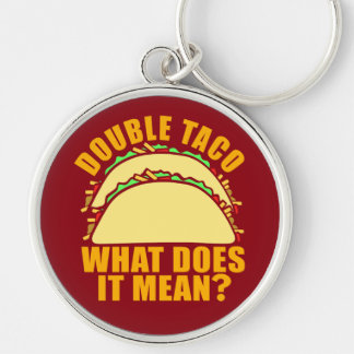 Double Taco Silver-Colored Round Key Ring