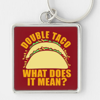 Double Taco Silver-Colored Square Key Ring