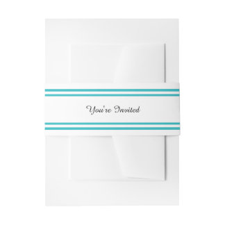 Double Teal Trim - Belly Band Invitation Belly Band