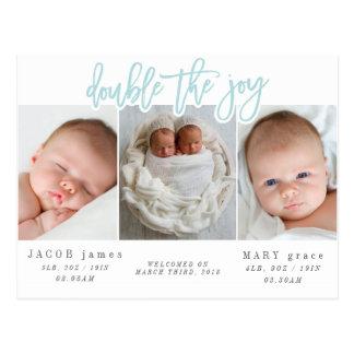 Double the joy-blue postcard