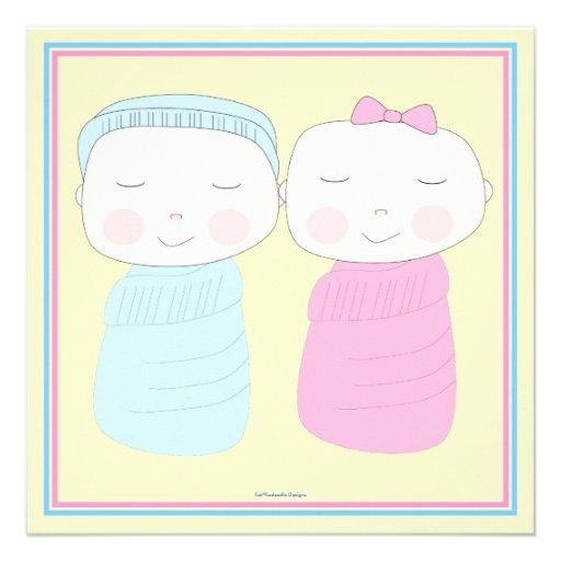 Double the Joy!  Twin Boy Girl Shower Invitation