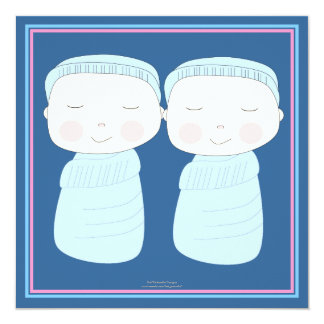 "Double the Joy!  Twin Boy Shower Invitation 5.25"" Square Invitation Card"