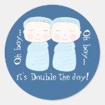 Double the Joy! Twin Boys Round Sticker