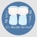 Double the Joy! Twin Boys Round Stickers