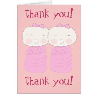 Double the Joy! Twin Girl Thank You Notecard Greeting Card