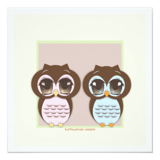 Double the Joy!  Twin Owl Boy Girl Baby Shower 5.25x5.25 Square Paper Invitation Card