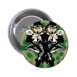 Double The Luck Leprechaun 6 Cm Round Badge