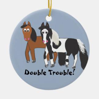 Double Trouble! Ceramic Ornament