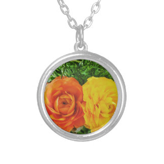Double Trouble Flower Silver Plated Necklace