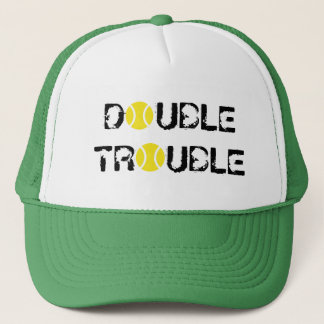 DOUBLE TROUBLE tennis hat for doubles players team