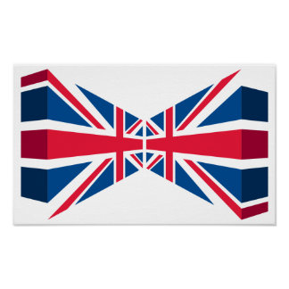 Double Union Jack, British flag in 3D Poster