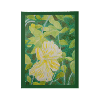 Double white hibiscus flower watercolor wood poster