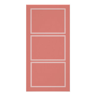 Double White Pin line Drop Shadow on Camellia Pink Customised Photo Card