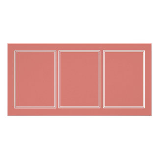 Double White Pin line Drop Shadow on Camellia Pink Personalised Photo Card