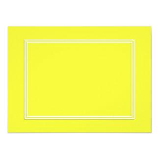 Double White Pin line Drop Shadow on Lemon Yellow 17 Cm X 22 Cm Invitation Card
