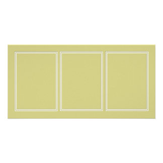 Double White Shadowed Border on Fern Green Customized Photo Card