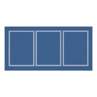 Double White Shadowed Border on Iris Blue Customized Photo Card