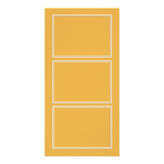 Double White Shadowed Border on Marigold Yellow Personalized Photo Card