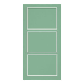 Double White Shadowed Border on Moss Green Personalised Photo Card