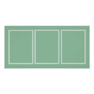 Double White Shadowed Border on Moss Green Personalized Photo Card
