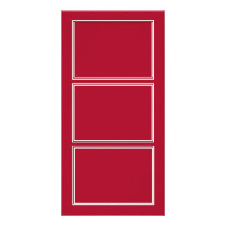 Double White Shadowed Border on Rose Red Customized Photo Card