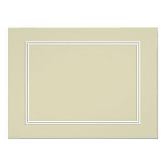 Double White Shadowed Border on Spanish Moss Green 17 Cm X 22 Cm Invitation Card