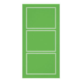 Double White Shadowed Border on Spring Leaf Green Customised Photo Card