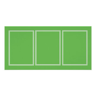 Double White Shadowed Border on Spring Leaf Green Photo Card Template