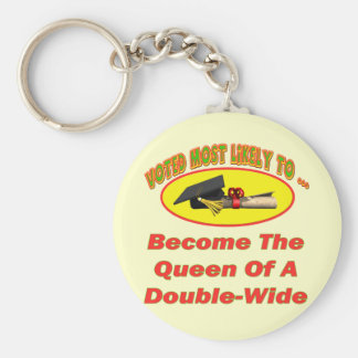 Double-Wide Queen Basic Round Button Key Ring