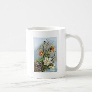 Double Yellow Narcissus and Violets Coffee Mug