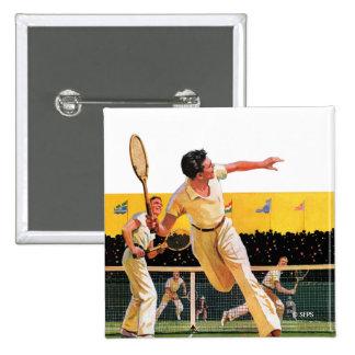 Doubles Tennis Match 15 Cm Square Badge