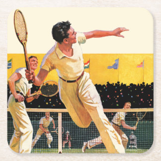 Doubles Tennis Match Square Paper Coaster