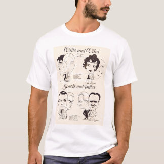 Doug Fairbanks Clara Bow Lillian Gish caricature T-Shirt