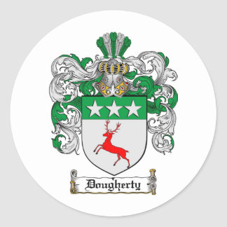 DOUGHERTY FAMILY CREST -  DOUGHERTY COAT OF ARMS CLASSIC ROUND STICKER