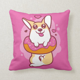 Doughnut Corgi Pink Throw Pillow
